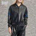 Черный с вышивкой натуральная кожа куртка женщин 100% Овчины мотоциклетная куртка весте ан cuir femme jaqueta де couro LT723
