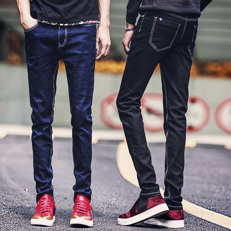 2016 New Fashion Quality Men's Casual Stretch Skinny Jeans Trousers Tight Solid color Men Blue Black Slim Jeans Pants size 28-40 top quality denim black jeans fashion solid stretch skinny jeans feet pants male casual jeans slim fitness cotton trousers 60038