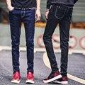 2016 Nueva Calidad de La Manera Ocasional de Los Hombres Stretch Skinny Jeans Pantalones Tight Hombres de color Sólido Azul Negro Delgado Jeans Pantalones tamaño 28-40