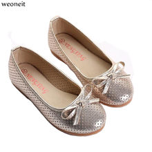 Weoneit Girls Shoes with Bow Knot Flats Slip on Hollow Out Loafers Hot Children  Kids Shoes Princess Shoes 3 Colors a73bb14bea06