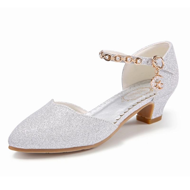 59e8f6cda2 Princess Girls Sandals Kids Shoes For Girls Dress Shoes Little High Heel  Glitter Summer Party Wedding Children Shoe
