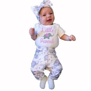 Ensemble de vêtements d'été pour bébé | Barboteuse à manches courtes avec lettres, pantalon + bandeau, 3 pièces, ensemble vêtements pour nouveau-né et fille