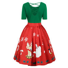 Christmas Dresses For Women Xmas Party Dress Clothes Plus Size Autumn Winter New Year Festival Family Party Snowflake Print Plus