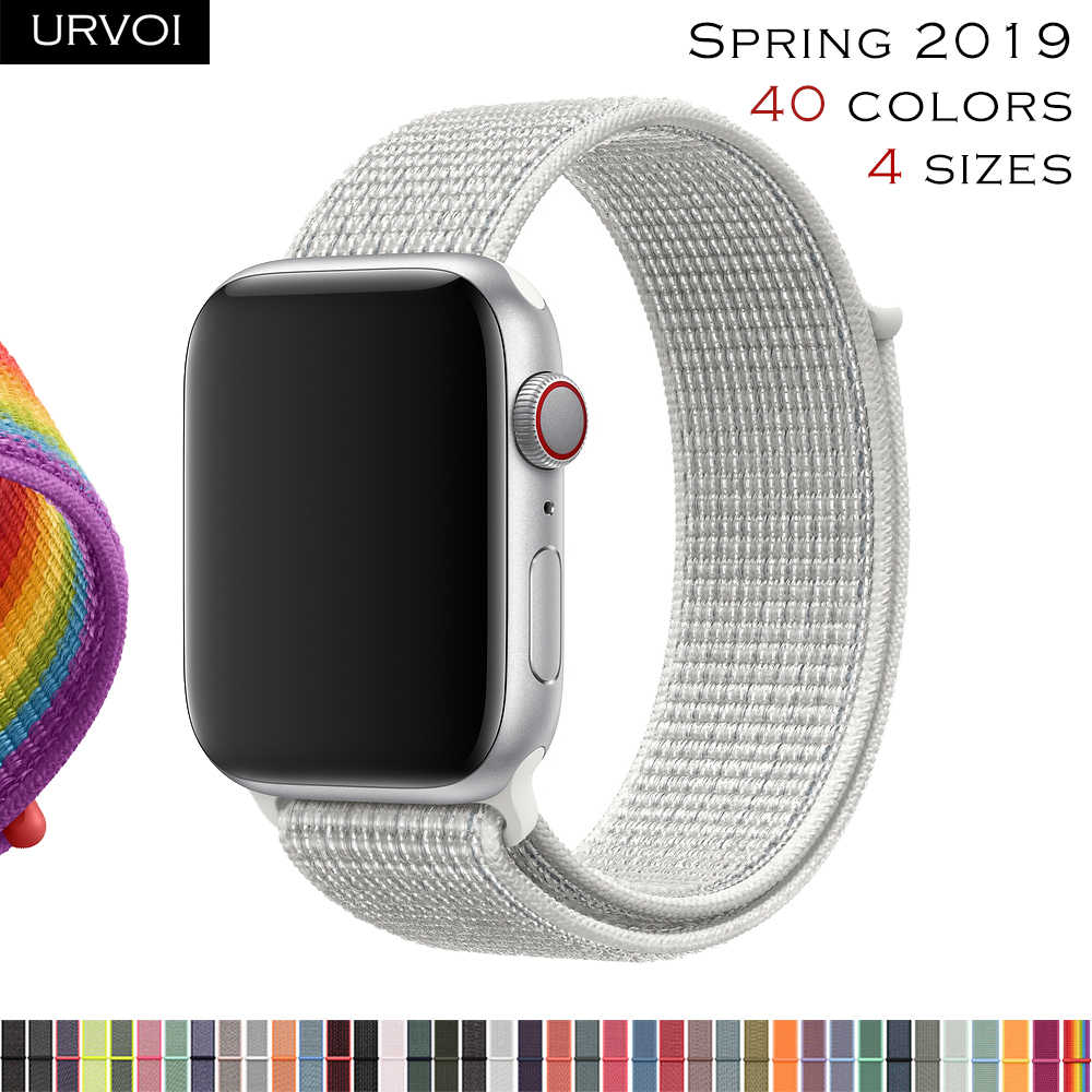 URVOI Sport loop band for apple watch series 4 3 2 1 strap for iwatch breathabe hook fastener woven nylon 40mm 44mm 2019 Spring