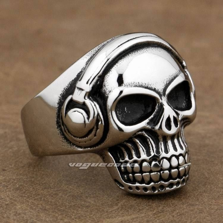 316L Stainless Steel DJ Skull Studio Music Headphone Mens Biker Ring 7X001