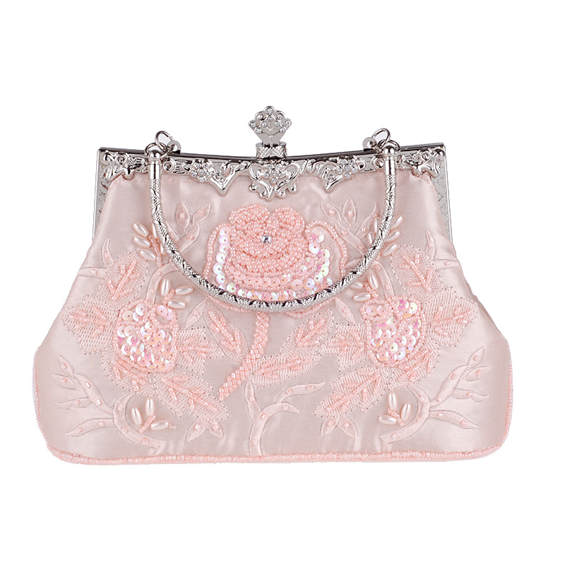 Vintage Style Beaded Women Evening Bags Diamonds Purse Day Clutches Bag Embroidery Pearl Wedding Handbags For