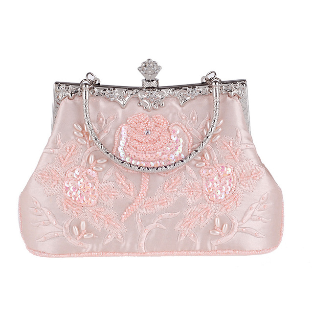 Vintage Style Beaded Women Evening Bags Diamonds Purse Day Clutches Bag Embroidery Pearl Wedding Handbags For Party Dinner