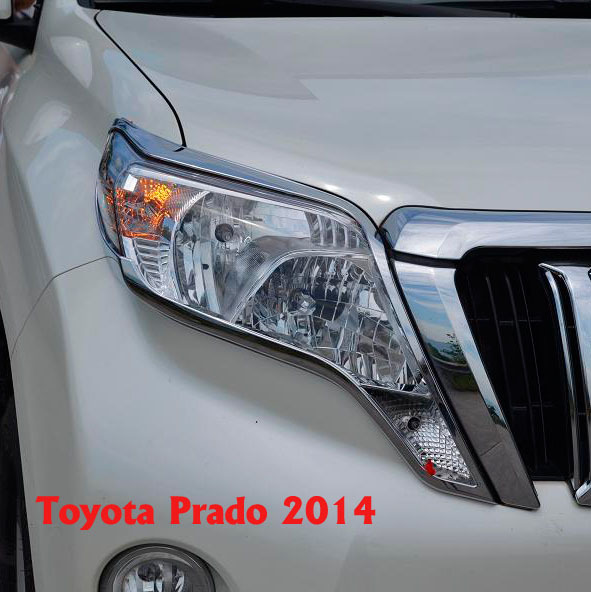 2014 Chrome Front Light Lamp Cover For Toyota Land Cruiser Prado FJ 150 Accessories front bumper turn light for toyota land cruiser prado lc70 lc77 rj77 79 4500