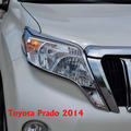 2014 Chrome Front Light Lamp Cover For Toyota Land Cruiser Prado FJ 150 Accessories
