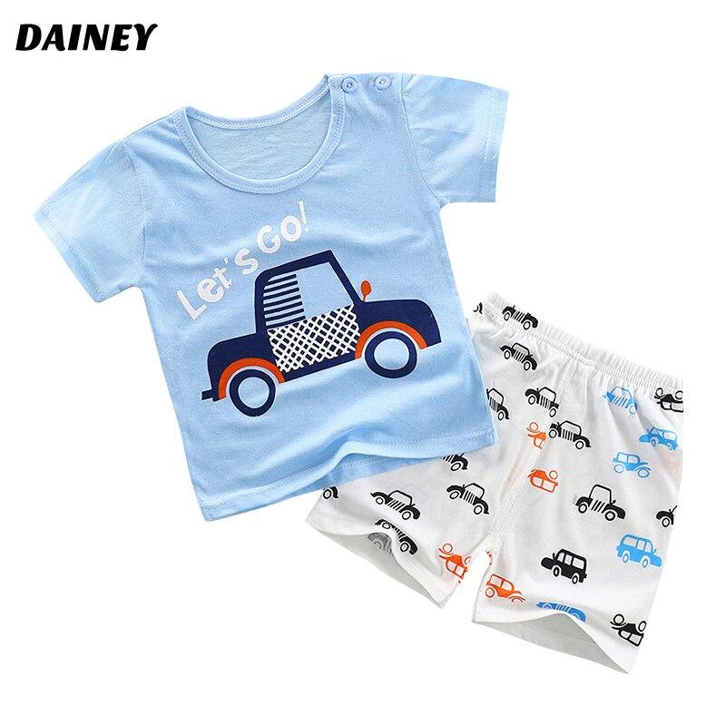 Новый летний милый мультфильм детский комплект одежды из 2 предметов; хлопковый короткий рукав для мальчиков и девочек детей Костюмы BTZ-01