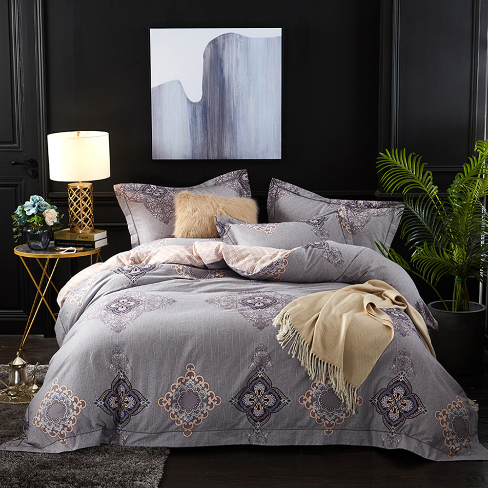 2018 European Royal Grey Duvet Cover Set Winter Thick Bed Covers Sanding Cotton Queen King Size Bedlinens Pillowcases Bedding Sets