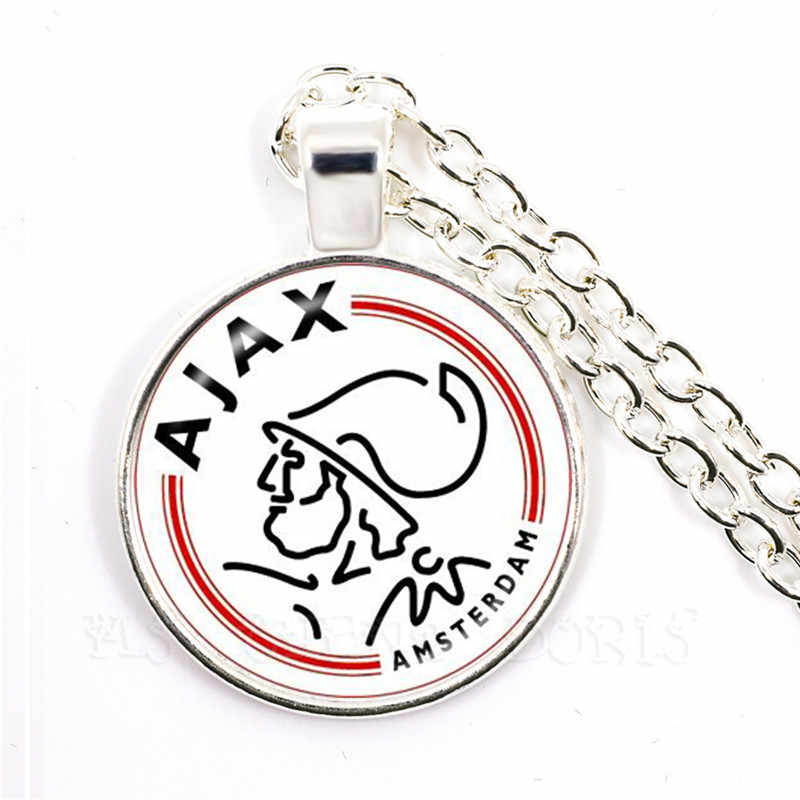 Football Club 25mm Glass Cabochon Necklace Ajax PSV Football Leagues Logo Soccer Club Pendant Necklace For Funs Gift