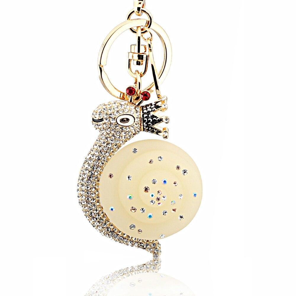 Christmas gifts novelty items fashion jewelry car key chain women bag charm metal keychain for the keys crystal Snails key chain