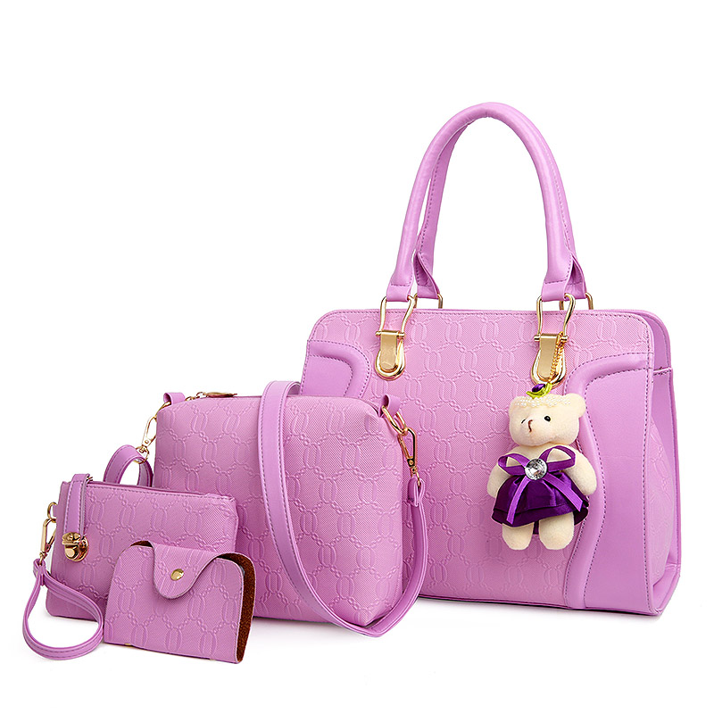 com urso 2017 mulheres da 4pcs/conjunto Women Bag With Bear Materials : Embossed Leather Women Handbag Conjuntos Bag With Bear