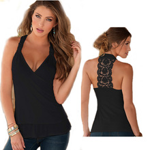 Fashion Off Shoulder summer women t-shirts V-Neck Lace Stitching Halter Sexy Backless woman Tank top white black femme camisolas