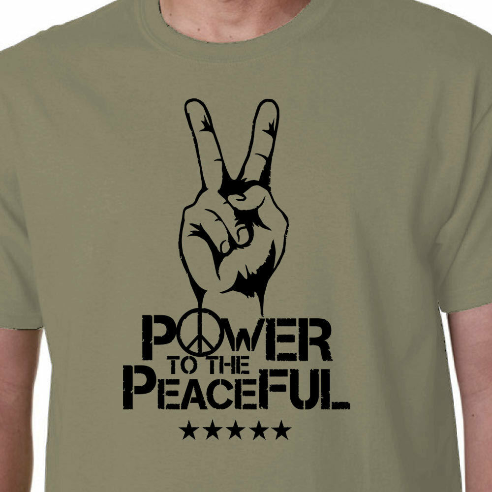 Power to the Peaceful t-shirt WAR ANTI-FLAG FRANTI SPEARHEAD POLITICS GEEK QUOTE image