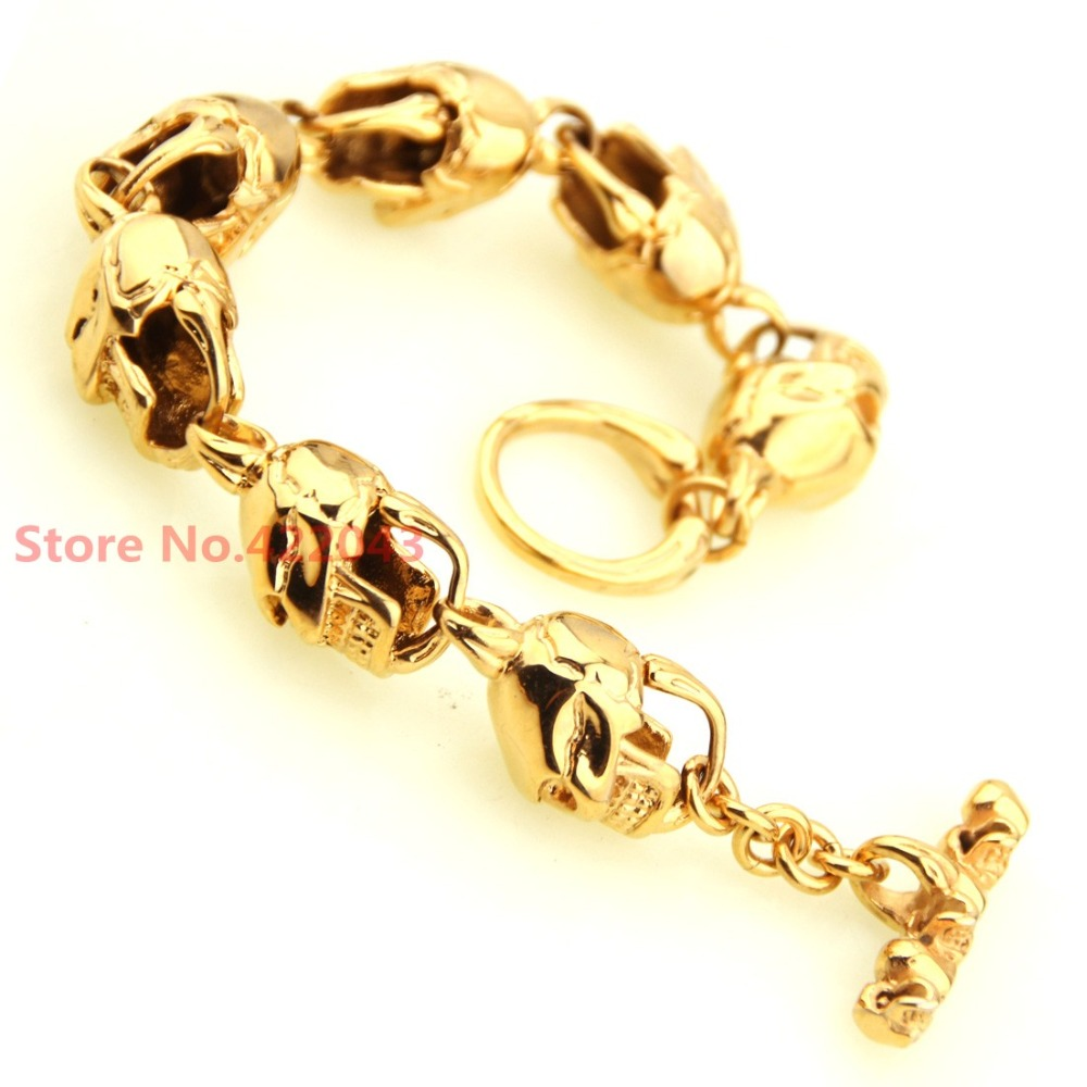 New Arrival 8 66 15mm font b Gold b font Rocker Biker Cool SKULLS Heads Mens