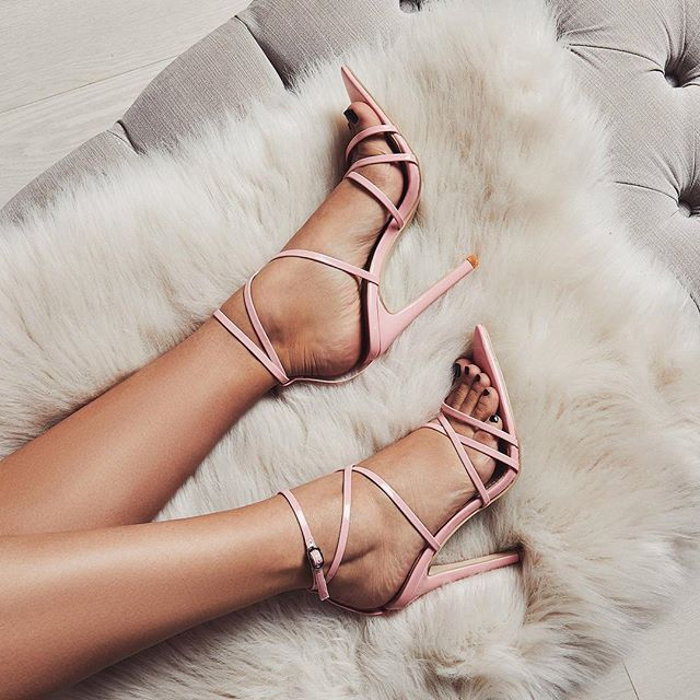 c4d54e3587f Women Strappy Heels Evening High Heel Black Patent Leather Sandals Pointed Open  Toe Thin Heel Sexy Party Stiletto Shoes Pink