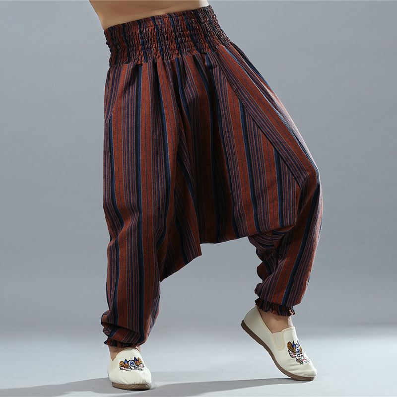 Cintura elástica hombres algodón Lino raya entrepierna pantalones grandes  Hippy Aladdin Harem pierna ancha Ninja Casual 18660275d76