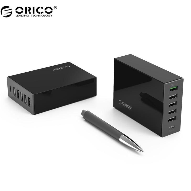 ORICO TSL-6U USB Chargeur Type-C QC2.0 Rapide Chargeur 6-port 5V2. 4A 9V2A 12V1. 5A Mobile Téléphone chargeur