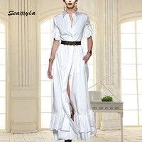 Seamyla New Autumn Runway Dress Women Elegant White Black Gall Gown Fashion Short Sleeve Ruffles Long