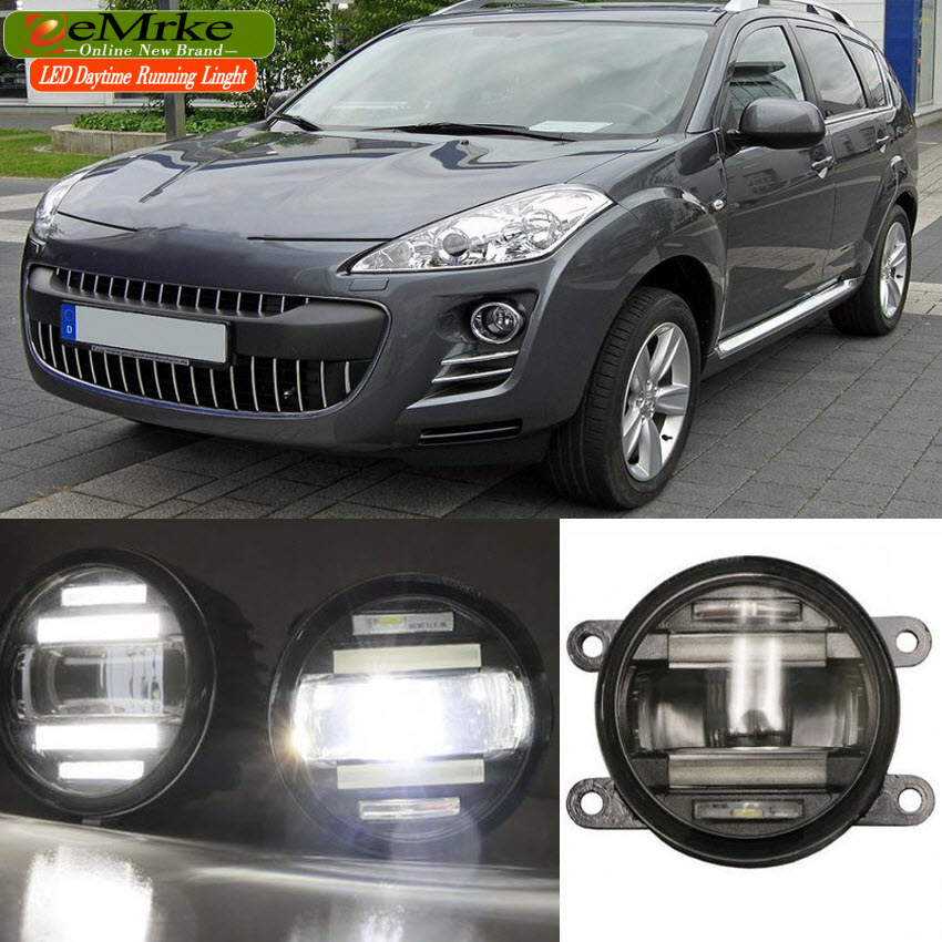 eeMrke 2 in 1 LED DRL Fog Light Lamp For Peugeot 207 208 301 307 3008 407 4007 With Lens Daytime Running Lights eemrke car styling for opel zafira opc 2005 2011 2 in 1 led fog light lamp drl with lens daytime running lights