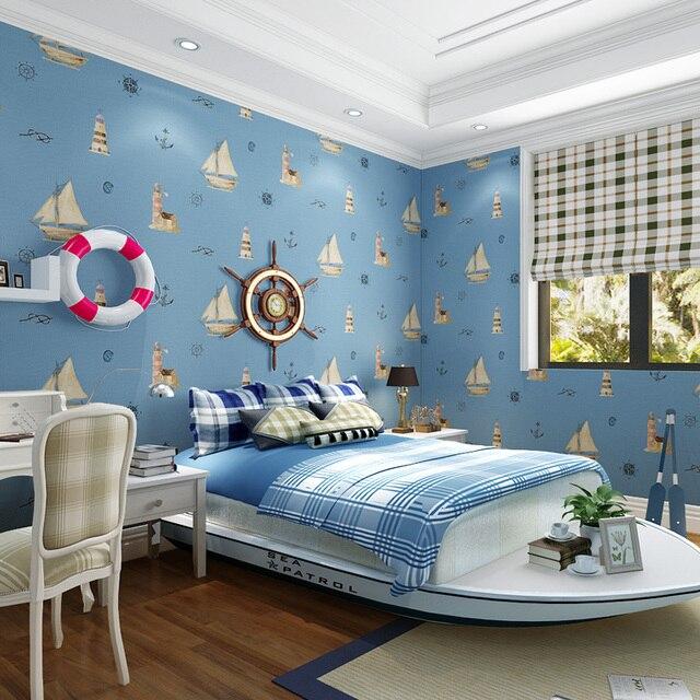 paysota cartoon zeilen kinderkamer behang slaapkamer jongen blauw mediterrane niet geweven muur papierrol