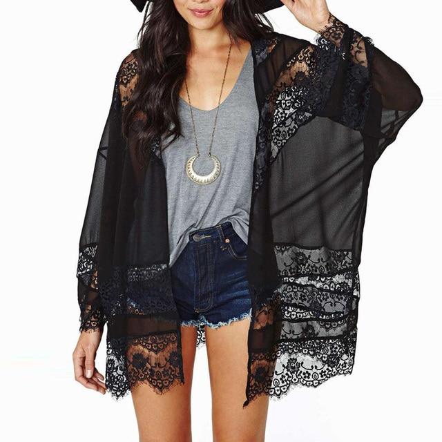 Causal Womens Blusa Shirts Summer Vintage Boho Kimono