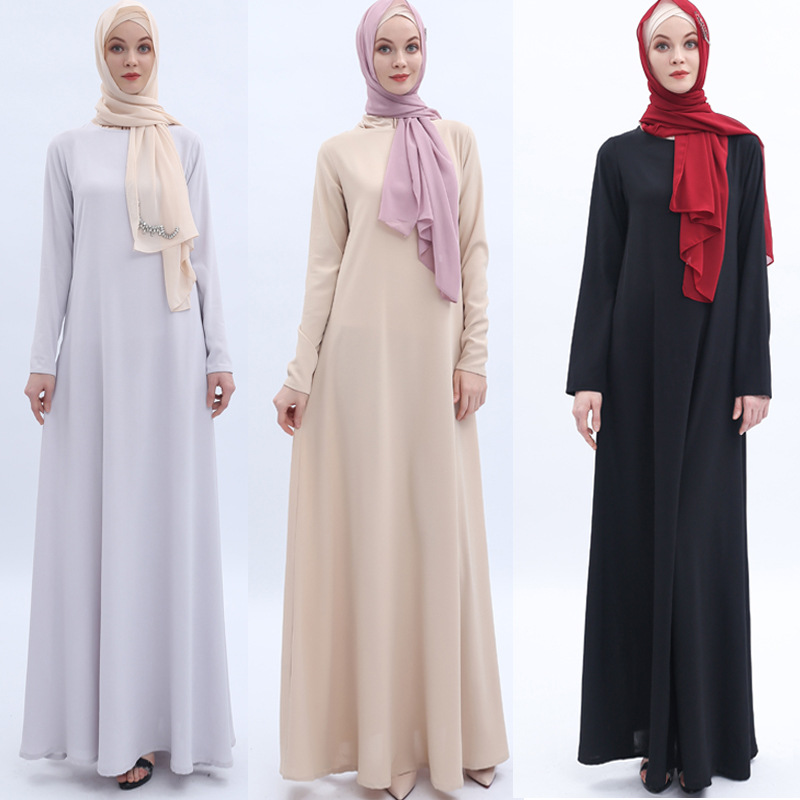 High-end Off-the-rack Muslim Clothing Arab Women's Dress Beige Basic Ramadan