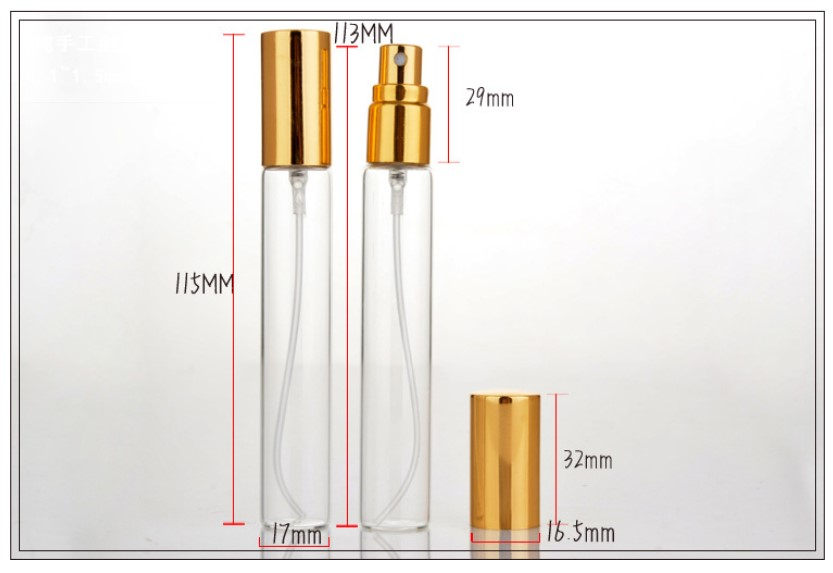 100/500 pcs 15 ml Mini Lege Glazen Navulbare Verstuiver Parfum Fles Pomp Spray Case Reizen Containers Goud Zilver Zwarte Cover - 6