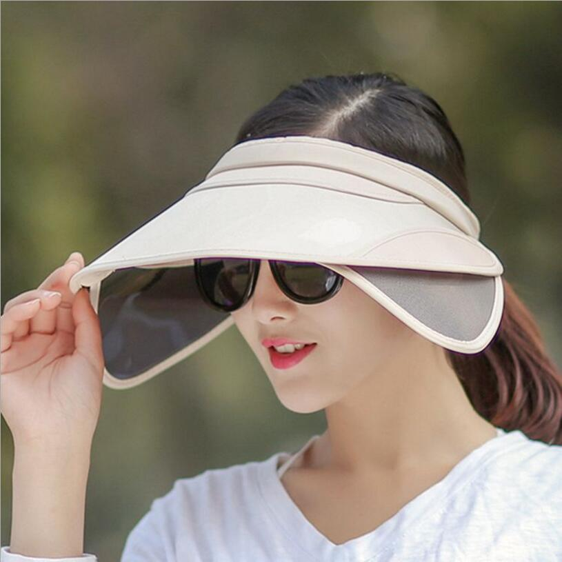 2017 sommar Eleganta damer Snygg enkelhet Stor brimmed solskydd Cap - Kläder tillbehör