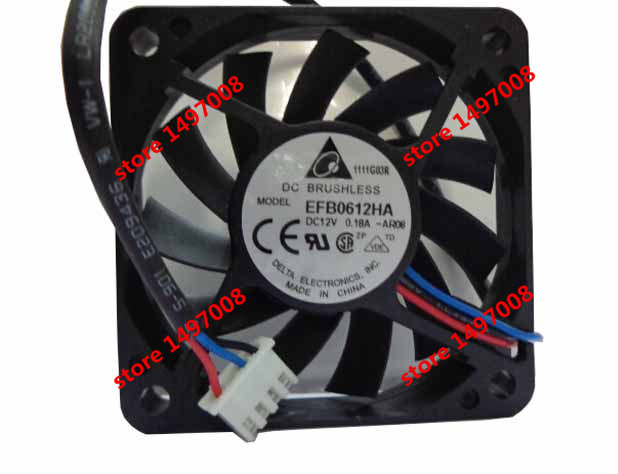 Free Shipping For DELTA  EFB0612HA, -AR08 DC 12V 0.18A,  3-wire 4-pin 120mm 60x60x10mm Server Square cooling fan free shipping for delta pfb0848dhe ck2a dc 48v 1 00a 80x80x38mm 4 wire server square cooling fan