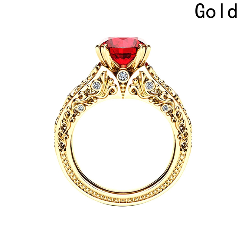 Ring Luxurious Crystal Gold for women Fashion Jewelry Accessories Plating Dropship valentines day gift Red Zircon