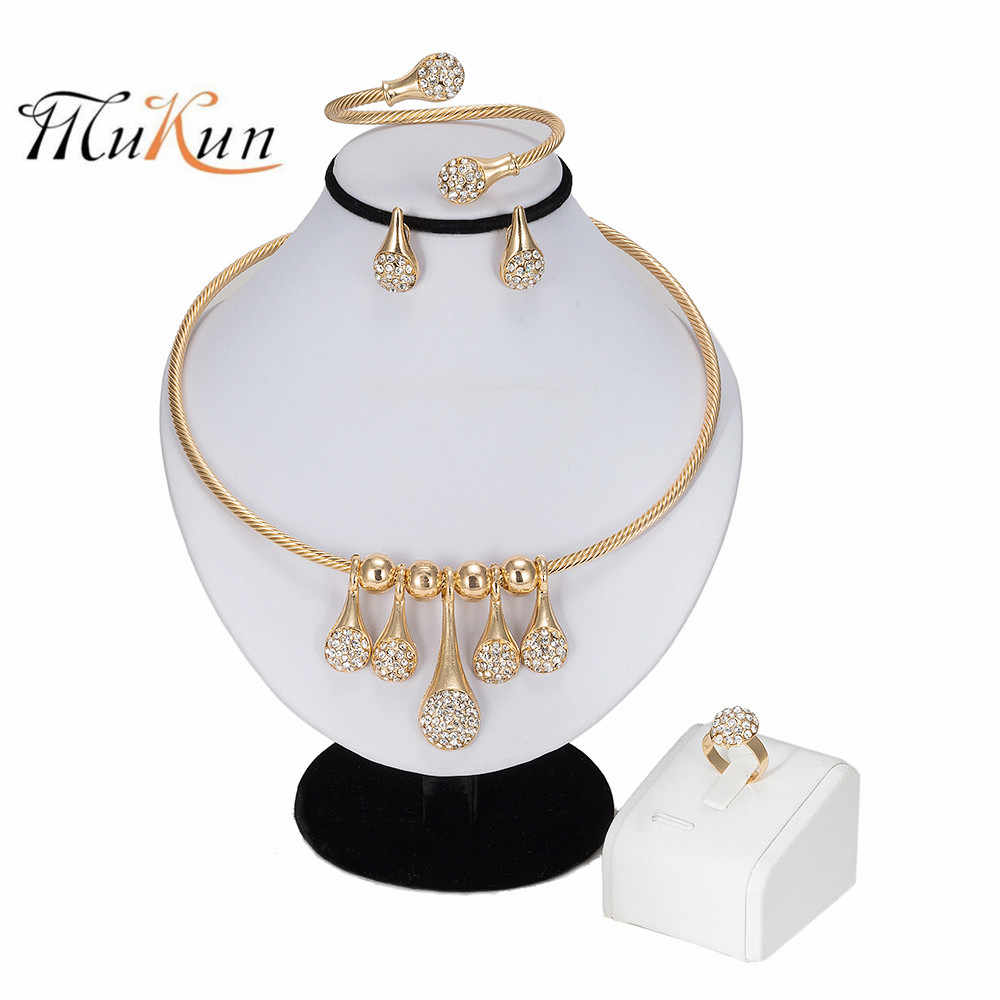 MUKUN Fashion Dubai Jewelry Sets Gold Color African Beads Jewelry Set For Women Wedding Geometric Indian Ethiopian Jewellery