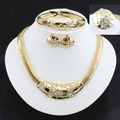 Dubai Wedding Fine Jewelry African Costume Jewelry Set  Gold Plated Bridal Jewelry Sets Party Earing And Necklace Sets