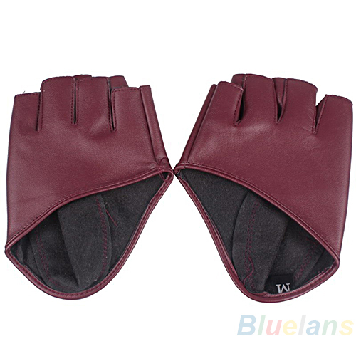 NEW Fashion PU Half Finger Lady Leather Ladys Fingerless Driving Show Jazz Gloves for Women Men 02AX 4N4Y 957Y