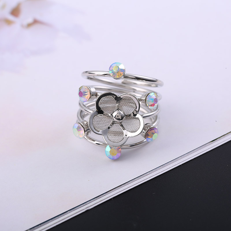 Classic Fashion Alloy Ring Multi Layer Spring Shape Ring Rhinestone Decoration Open Retro Style Christmas Gift Jewelry Gift Ring in Rings from Jewelry Accessories