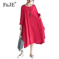 F JE 2017 Autumn New Arts Style Women Loose Long Sleeve Dress High Quality Cotton Linen