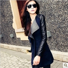 2015 Korean version of Hitz hit color stitching Slim woolen coat female woolen coat and long sections