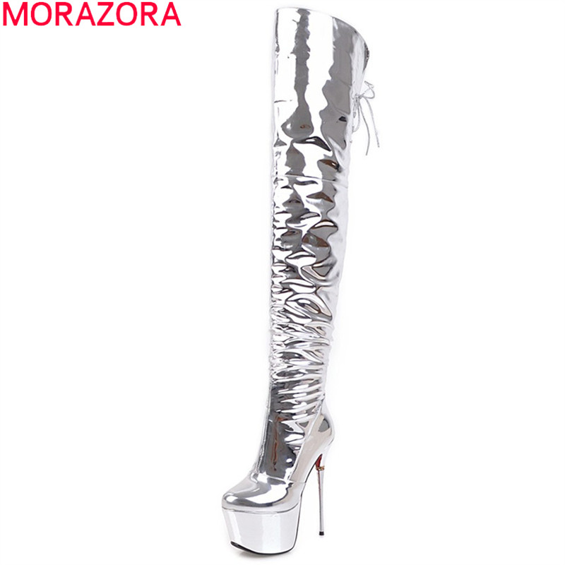 MORAZORA 2018 autumn winter women boots sexy super high thin heel over the knee boots platform zipper cross tied ladies boots morazora autumn winter new arrive women boots pointed toe zipper flock ladies boots square heel cross tied over the knee boots