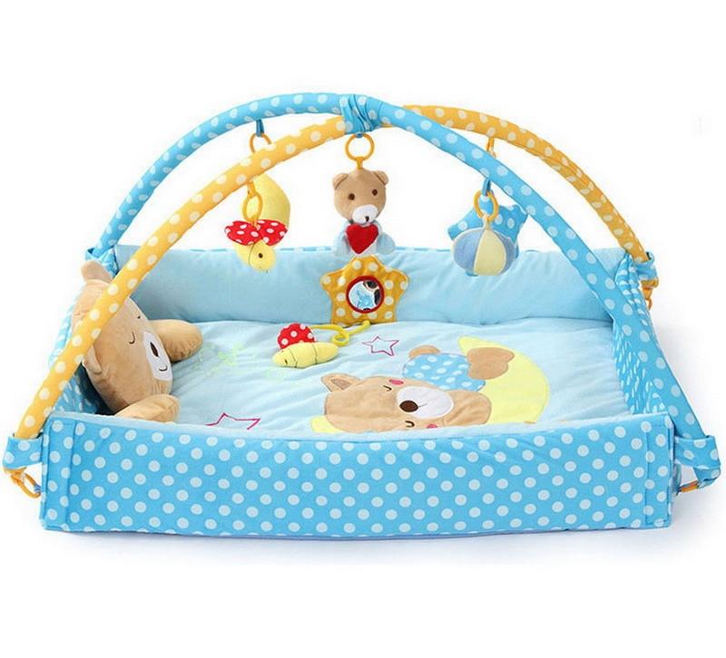 Blue Foldable Newborn Baby Play Mat Toys Infant Musical Gym Toddler Soft Educational Children Kids Mats Crawling Playmat Bed  цены