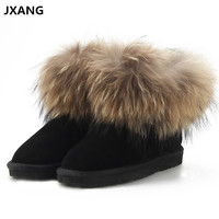 JXANG Fashion Cow Suede Leather 100 Natural Fox Fur Women Short Winter Ankle Snow Boots For