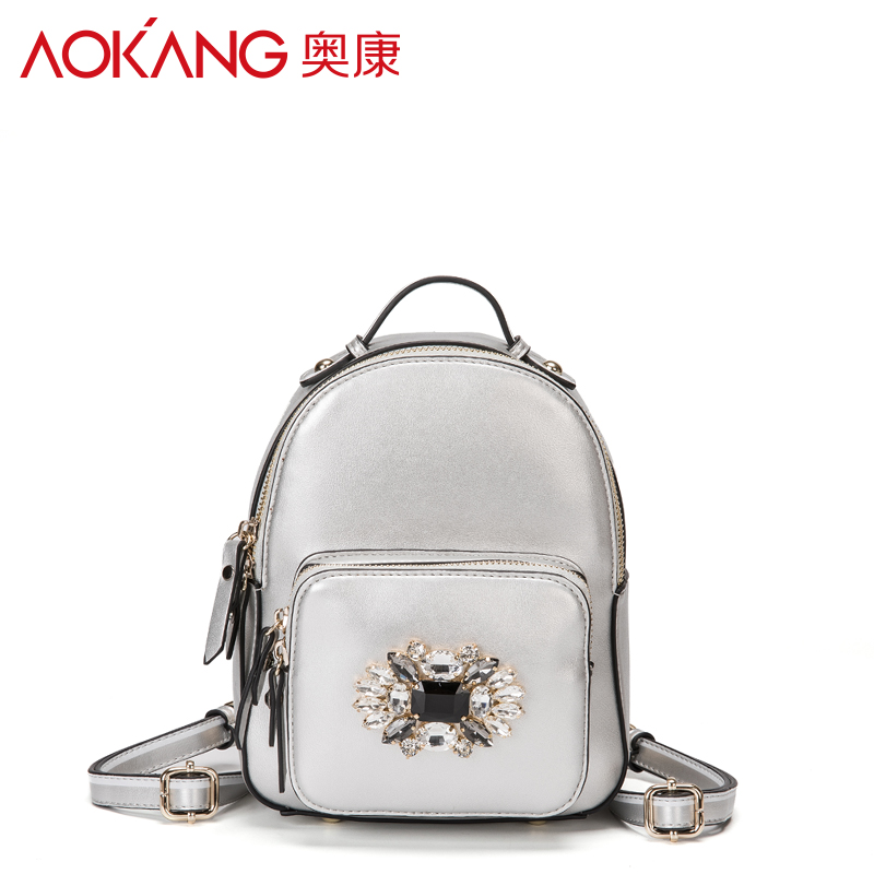 Aokang 2017 new female bags leather bags embroidery backpack zipper bag euramerican fashion split leather bags