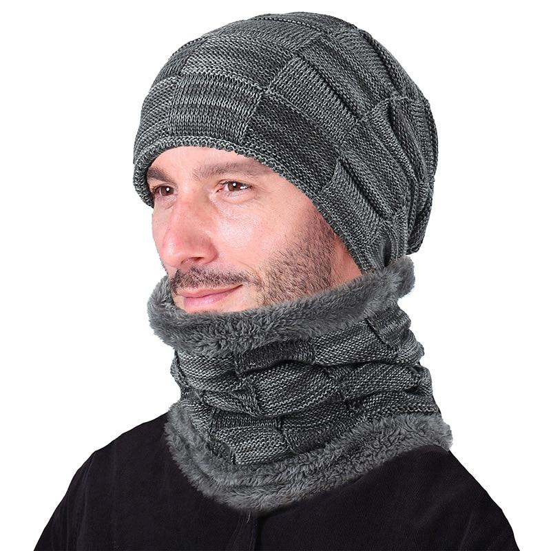 Men Women Winter Elasticity Knitted Warm Cap Scarf Sets Plaid Fold Thick Velvet Plush Wool Knit Windproof Hat Muffler Sets K23