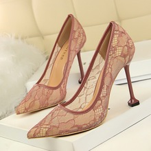 Women Pumps Summer Fashion Lace Mesh Pointed Toe Shallow Slip-On 9.5cm Thin High Heels Solid Party Club Sexy Party Female Shoes women pumps big size shoes gold crystal bling mesh transparent high thin heels pointed toe fashion party sexy slip on shallow