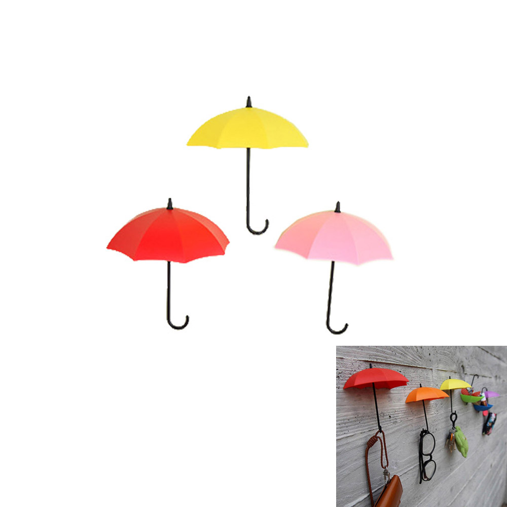 3 Pz Ombrello Colorato Gancio A Muro Chiave Perno Di Capelli Dell'organizzatore Del Supporto Decorativo (rosso + Arancio + Giallo/viola + Verde + Blu/rosa + Rosso + Giallo)
