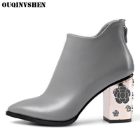 OUQINVSHEN Zipper Pointed Toe Boots Casual Fashion Women Ankle Boots Square Heel Appliques High Heels Ladies