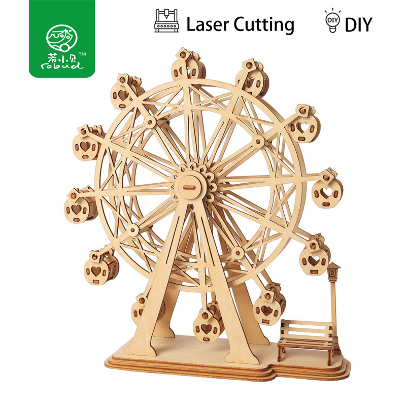 Robud 3D DIY Craft Ferris Wheel Puzzle Game Wooden Model Building Kits Popular Educational Toys Gifts For Children Adult TG