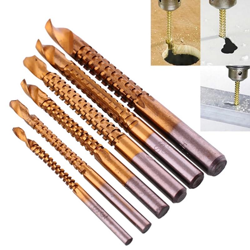 6pcs/ Drill Power Tool Drill Wood Cutter High Speed Steel Twist Sawtooth Drill 3mm/4mm/5mm/6mm/6.5mm/8mm