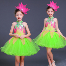 Songyuexia Children Sequin Jazz Dance Modern Costume Fashion Halter Latin Waltz Dancing Dress Stage Show Dresses for girl
